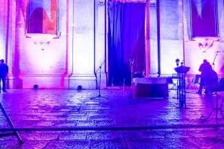 The square of Santa Maria la nuova, one of Scicli's main churches, had been specially illuminated for the occasion